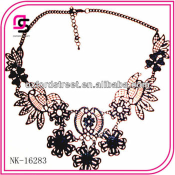 2016 Fashion custom plastic handmade tattoo choker necklace with flowery