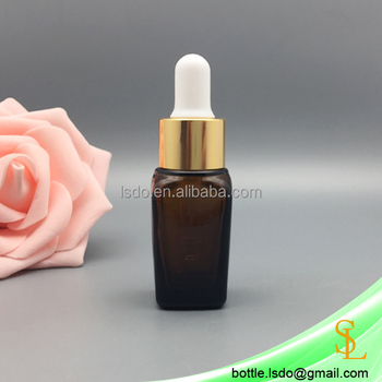 15ml square shape essential oil/e liquid/serum fancy amber glass dropper bottle ,gold dropper cap with white rubber top
