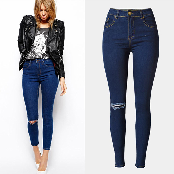 Wholesale 2016 Autumn Women Fashion Knee Holes Fringed Top Quality Jean Pent Ladies High Waist Skinny Butt Lift Jeans