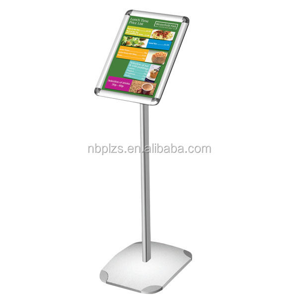 aluminum floor stand aluminum sign post budget 8.5*11 aluminum menu holder