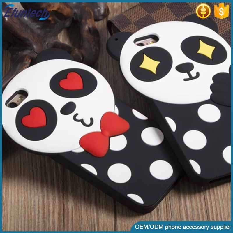 Cheap price phone accessory lovely panda 3D silicone phone cover for iphone 6s plus
