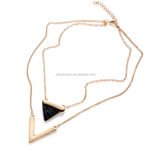 Personalized Layer Triangle black Turquoise V shape Pendant Necklace