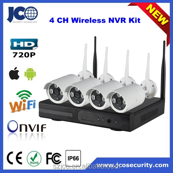 Wireless NVR Kit wifi ip HD video output h.264 4ch dvr combo cctv camera kit