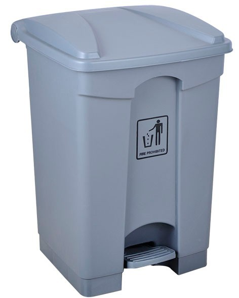45L large grey plastic pedal waste bin