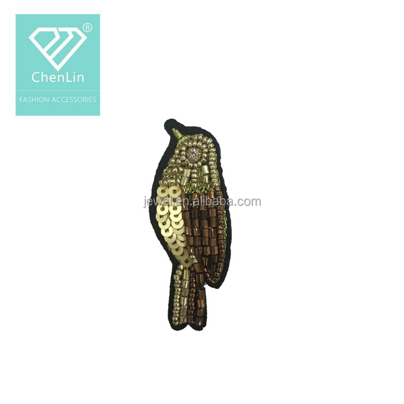 Custom sequin bird patch beaded rhinestone applique for kid clothes