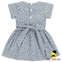 48BQA244 Fancy Small Flower blue Print Top Style Dress Girls Party Wear Kids Beautiful Model Dresses