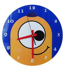 Popular Cartoon Round Tempered Glass wall clock for kids