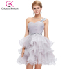 2015 Grace Karin new design sexy Sweetheart One Shoulder Design Organza Crystal Cocktail Dresses CL4589-3