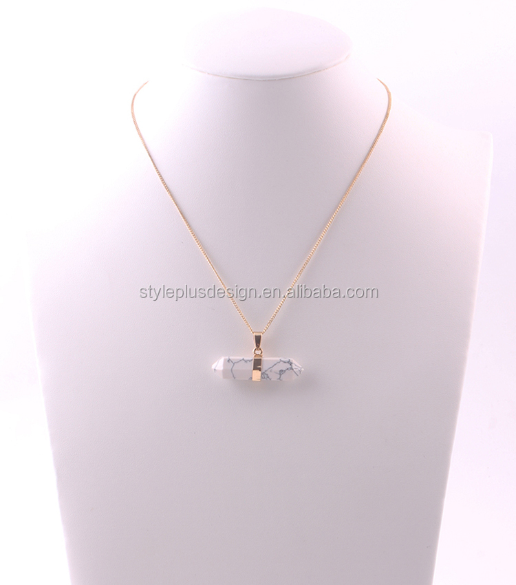 N73228I02 Thin gold long chain bullet shape emerald necklace baseball cross necklace stone resin pendant