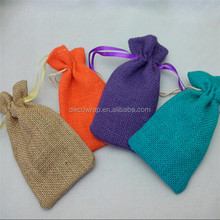 Colorful Jute Bag, Jute Pouch, Linen Jute Bag For Jewelry