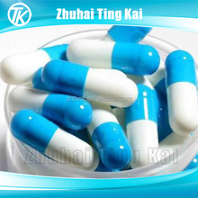 powder and pill packing blue white empty gelatin capsule