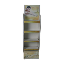 Floor standing rack cardboard cosmetic supermarket display showcase