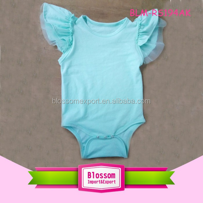 Newest design hot pink angel infant girls bodysuit flutter sleeve baby romper