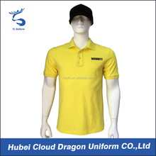 Pique cotton yellow work polo shirts security polo t shirt with print logo