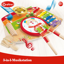 Onshine wooden 5-in-1-Musiktation kids play Percussion toys new design wooden musical instruments