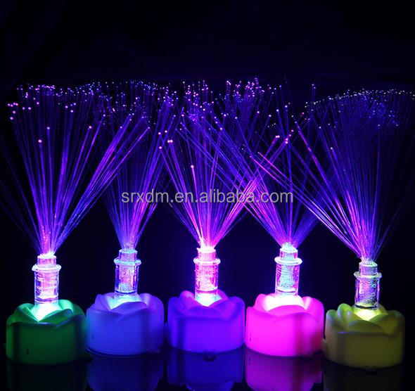 Custom Novelty Multi Colour Led Changing Fibre Optic Light Fountain Night Calming Lamp Night Light