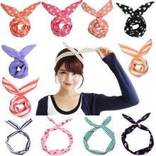 HOT 1 PC Lovely Kids Girls Lady Bow Headwear <strong>Hair</strong> Bands Hoop Rabbit Ear Wrapped Headband Party Wire Scarf <strong>Hair</strong> <strong>Accessories</strong>
