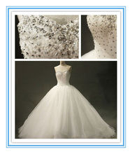 Princess Ball Gown Crystals Beads Fluffy Wedding Dresses(WDSB-1009)