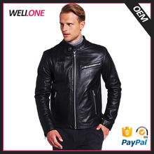 Guangzhou factory custom design zip pockets fashion blank high quality biker motorcycle men black leather jacket polish
