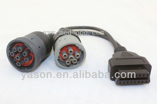 OBD2 Interface Truck Y Cable OBD2 16pin female to J1708 6pin and J1939 9pin