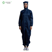 Cleanroom unisex gender antistatic navy blue colors stripe lint free garments suit coverall esd workwear clothing