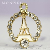 H486 MONNEL 2015 Hot Selling Clear Crystal White La Tour Eiffel Paris Tower Jewelry Pendant