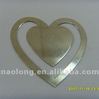 heart shapes die cut custom laser engraved logo metal souvenirs bookmark/book marks
