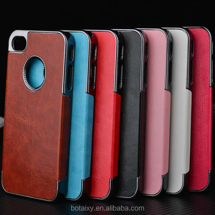 Luxury Crazy Hours PU Leather Electroplated Chrome hard Case for iPhone 4,4s