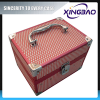 aluminum small cosmetic train case with mirror,PVC makeup train cases with inner box,hard case cosmetic bag