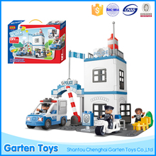 Educational DIY building blocks police brick toy set with electronic police car toy