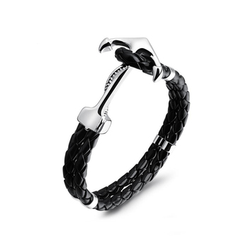 Fashion Personality jewelry Stainless Steel Anchor Buckle Leather Charm Bracelet Design For Mens