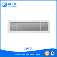 Aluminium air linear bar grille diffuser with fixed core for industrial hvac system, LBGF hinged return air grill