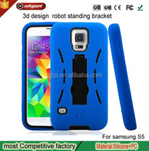 3d design robot standing bracket phone case for samsung galaxy s5 i9600 cell phone case