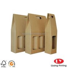 Double wine bottle rigid craft paper bag with empty window and die cut handle for wine take away