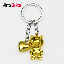 2017 Gold Advertising Key Chain 3D Animals Bear Attachment