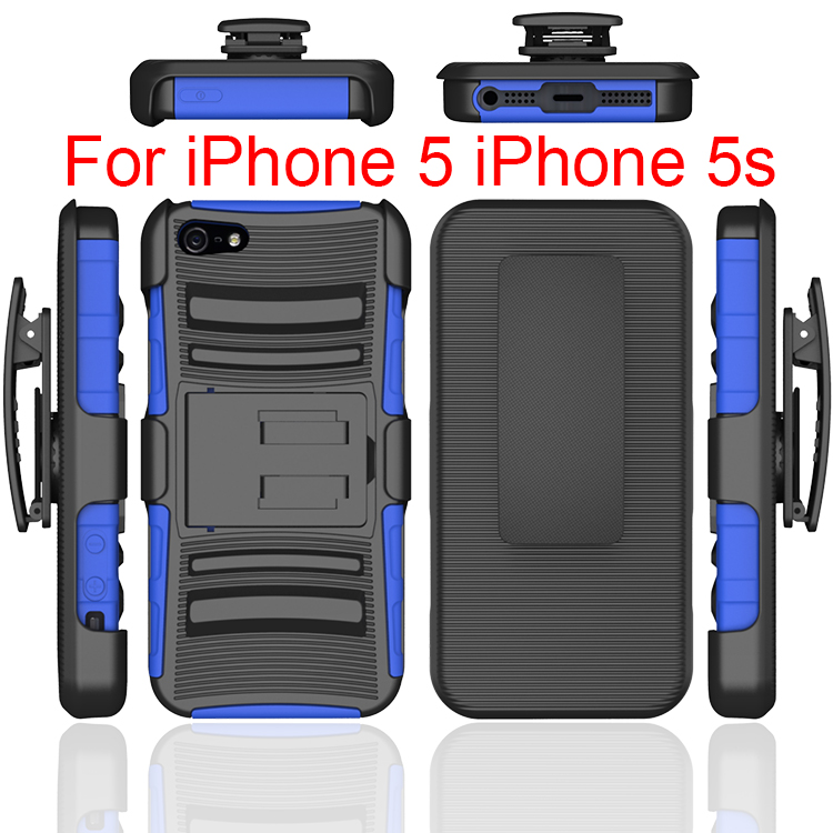 3 In 1 Combo Shell Holster Clip Cell Phone Case For Iphone 5,New Hot TPU PC Product