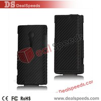 Carbon Fiber Top Flip Leather Skin Case for Sony Xperia Ion LT28i(Black)