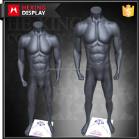 Strong Muscle Black FRP Standing Male Mannequins Window Display Props