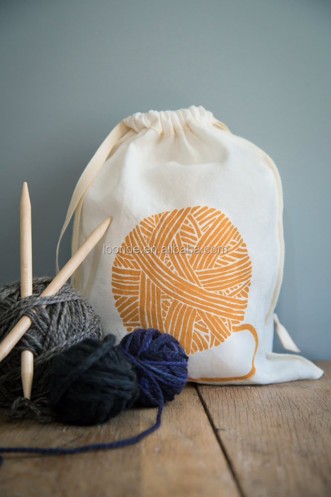 Screen printed with yarn design cotton knitting bag for home organization