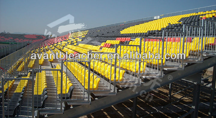 Manufacture price plastic seating on outdoor metal structural Grandstand with I beam