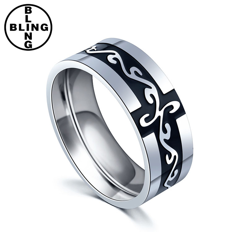 >>>2017 hot sales fashion titanium men ring creative engraved black rings