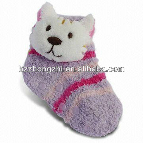 Kids slipper terry sock with animal head in various color