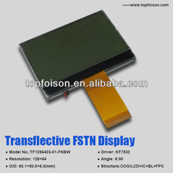 TF1286423-01-FNBW FSTN monochrome lcd character module TN/STN/FSTN positive 128*64 Dots 6:00 viewing angle