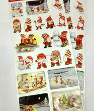 Hot sell in stock and custom cartoon Father Christmas funny sticker,PVC glitter powder sticker