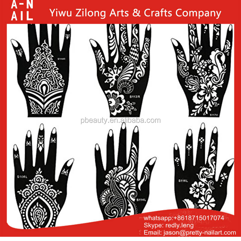 New Deisgn Triangle Simple Black Henna Temporary Tattoos Stickers For Hand / Body Art