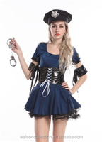 Carnival Police woman Fancy Dress Catch robber Outfit Cosplay Costume