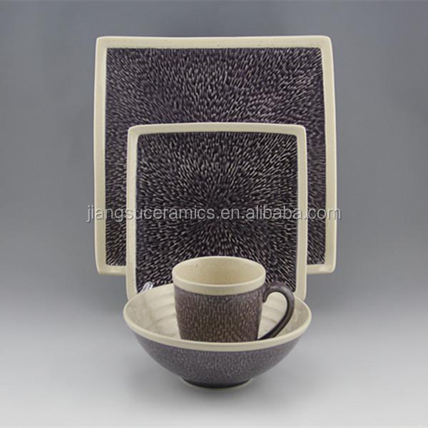 two tone tableware purple white square dishware stoneware ceramic dinnerware set & 2 tone ceramic dinnerware set_Yuanwenjun.com