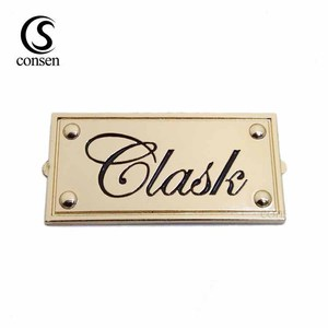 Cut out nameplate design metal custom gold plate logo for handbags