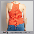 Latest Summer Vest Tops Wholesale Round Neck Sleeveless Design Tie Back Fastening Orange Women Vest