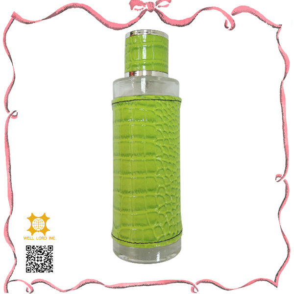 Special designed bright green leather fragrance atomizer bottle